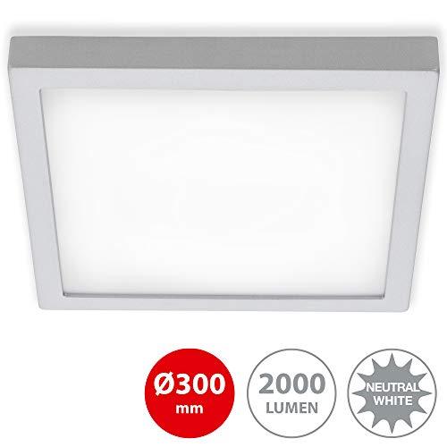 Briloner Leuchten - LED Aufbauleuchte, Deckenlampe, Deckenleuchte 21 Watt, 2.000 Lumen, 4.000 Kelvin, Quadratisch, Chrom-Matt, 300x300x32mm (LxBxH)