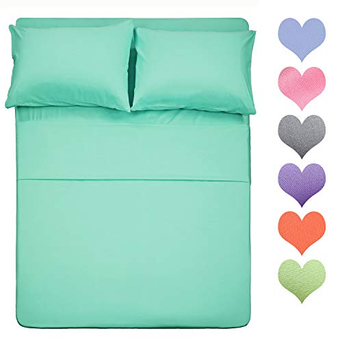 Best Season 400 Thread Count Cotton Full Size Sheet Set (Mint Color) 4 Piece - 100% Long Staple Cotton Sheets Set, Soft Cotton Bed Sheets Sets with Deep Pocket fit Upto 16 inch