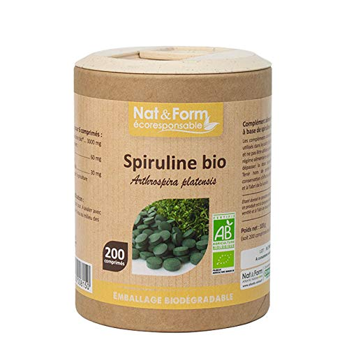 Spiruline 100% BIO - Complément Alimentaire Energie Système Immunitaire Boosté - Nat & Form - 200 Comprimés