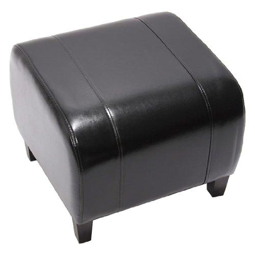 Mendler Hocker Sitzwürfel Sitzhocker Emmen, Leder + Kunstleder, 37x45x47 cm - schwarz