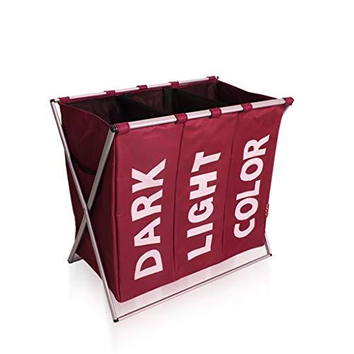 Cesto de ropa sucia Lavandería Cesto de almacenamiento Plegable Canasta de almacenamiento Compartimiento Hogar Oxford Impermeable (Color : Red)
