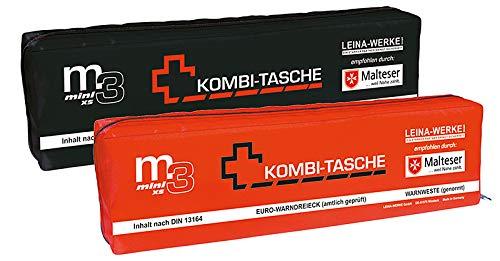 LEINA-WERKE REF 14042 LEINA KFZ-Mini-Kombitasche M3 XS, Inhalt DIN 13164, Black/White-Red print
