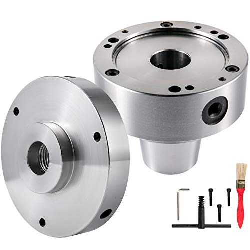 "VEVOR Router Collet Set 5C, 5"" Collet Adapter with Dust Removing Brush, 6000 RPM Collet Chuck, 0.0006 TIR Rotary Collet, Cam Lockpin 1"" in Diameter with a Backplate for Lathe Machine"