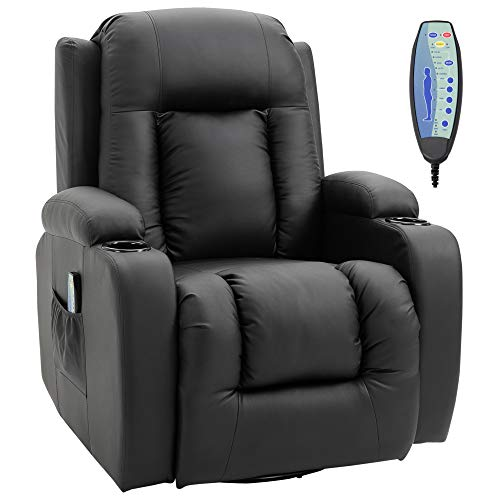 HOMCOM Luxury Heated Vibrating Recliner Chair PU Leather Single Theater Reclining Sofa 360° Swivel with Massage Function, Drink Holder and Remote for Living Room - Black