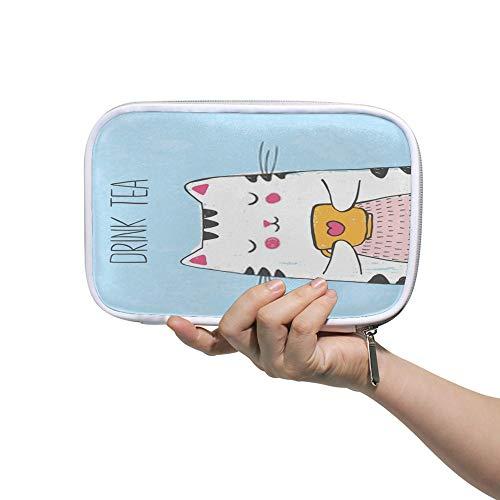 Chehong Federmäppchen mit großem Fassungsvermögen, Schreibwaren-Tasche, Make-up-Tasche, niedliche Vektor-Illustration mit Skizze Katze mit Tasse Tee Reisepasstasche, großer Stauraum