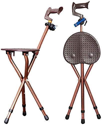 YWYW Altura durable asiento de caña ajustable aleación de aluminio caña taburete muleta silla asiento 3 piernas caña asientos caminar palo alto con luz
