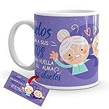 Kembilove Taza Desayuno para Abuelos – Tazas Originales con mensajes Graciosos con Mensaje Los abuelos que crían a sus nietos dejan huella – Taza de Café y Té para Abuelos