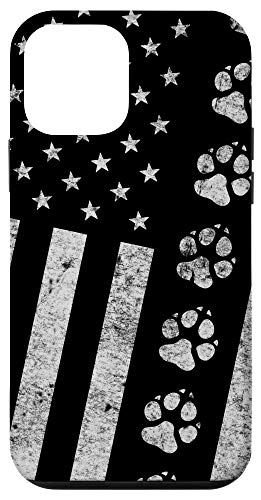 iPhone 12 mini Dog Paw Print Distressed American Flag - Military K9 Gift Case