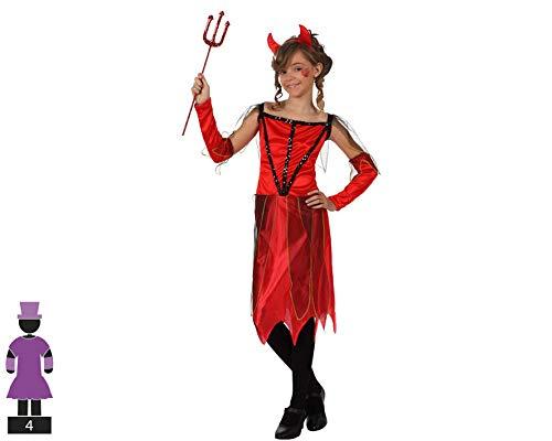 Atosa-10575 Disfraz Demonio para Niña Infantil Color rojo 7 a 9 años (10575