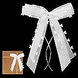 SUPRBIRD Decoracion Coche Boda Lazos Blancos 35 Piezas Adornos Coche Boda Lazos Adorno Coche Boda para decoración de Coche, Boda, decoración de Coche,Fiesta y Navidad