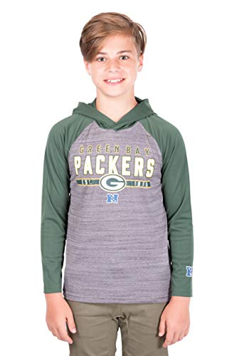 Ultra Game NFL Green Bay Packers Youth Moisture Wicking Athletic Performance Pullover Sweatshirt Hoodie, Team Color, 18/20