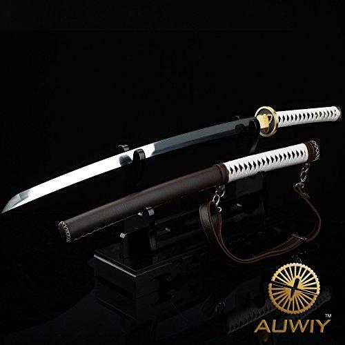 Auway Michonne Katana Sword, Walking Dead Samurai Sword with Wooden and Polyurethane Scabbard Fully Handmade Japanese Katana Sword 1060 High Carbon Steel (Brown Leatherette)