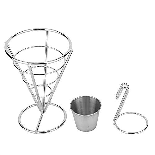 Porta patatine fritte con tazza per salsa, Snack Display Basket Snack Dip Ciotole Patatine fritte Cono Holder Snack Food Stand Holder(single)