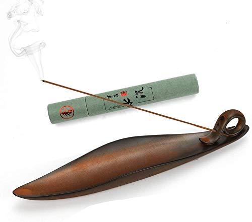 KKUYT - Soporte de incienso con receptor de cenizas, quemador de incienso de cerámica con 30 varillas de incienso, para casa, oficina,...