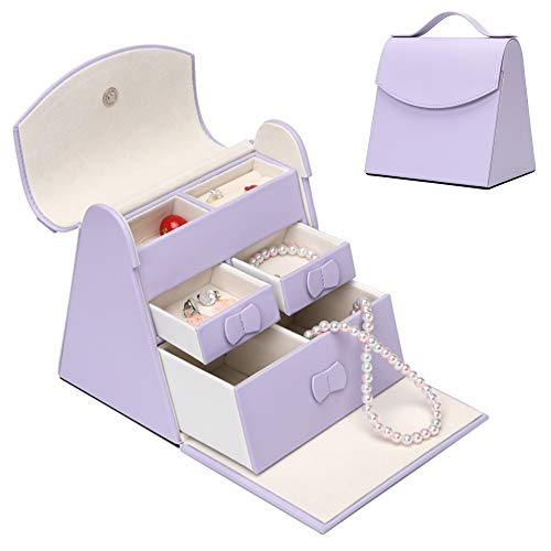 X•RHEA Girls Jewelry Box, Princess Adorable Jewelry Trinket Box Purse Gifts for Girl- Lavender