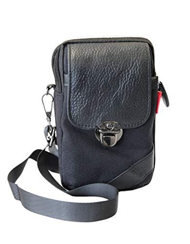 Leoodo Kleine Damen Herren Umhängetasche Crossover Flugbegleiter Sport Bag Handtasche Schultertasche Geldbörse Handy Mini-Tasche für Joggen Klettern Fahrrad, Damen Tasche:Schwarz