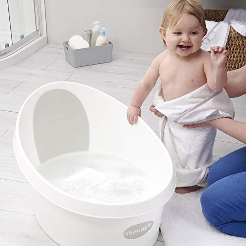 Shnuggle - Bañadera infantil +12 meses. Tina color blanco con interior antideslizante con práctico tapón para vaciar
