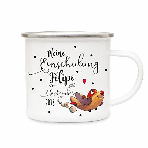 ilka parey wandtattoo-welt Emaillebecher Camping Tasse Flugzeug & Spruch Meine Einschulung Kaffeetasse Geschenk mit Name Wunschname & Datum eb193