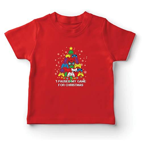lepni.me Camiseta para Niño/Niña Pausé mi Juego para Navidad Equipo de Juego Divertido (7-8 Years Rojo Multicolor)