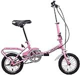 Aoyo Kinderfahrräder Klapp, 12' Light Weight Faltrad, High-Carbon Stahlrahmen, Junior School Students Single Speed Verstärkter Rahmen Commuter Bike (Color : Pink)