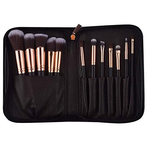 Ghong make-up kwastjes, 12 stuks, cosmeticaborstels met houten handvat, cosmeticatasje