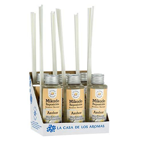 La Casa de los Aromas, Set de 6x100ml Ambientadores Mikado Azahar para Reposición con Varillas, Difusor Líquido de Aroma Azahar, Perfume Duradero para el Hogar, Baño, Casa