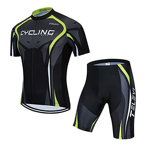 RMane Herren Fahrrad Anzüge Kurz Atmungsaktive Radtrikot Fahrradbekleidung Set Schnelltrocknend Kurzarm Shirt + Radhose/Trägerhose mit Sitzpolster für Radsport S -2XL (Trikot+kurze Hose, XL)