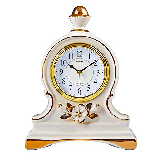 Reloj De Mesa De Cerámica, Segundo Movimiento De Barrido Silencioso Vintage Premier Modern Relojes De Cocina con Batería para Sala De Estar Reloj De Mesa 17.5X23Cm 2 Colores (Color: Negro)