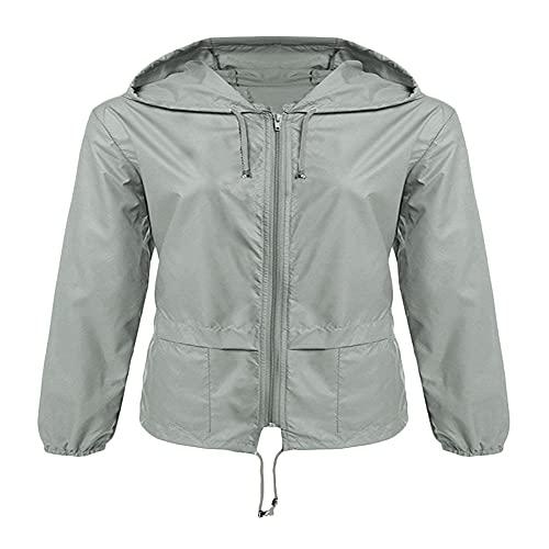 Chaqueta de mujer con cremallera con capucha ligera al aire libre senderismo impermeable color sólido corto impermeable