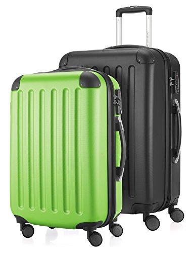 HAUPTSTADTKOFFER - Spree - 2er Koffer-Set Hartschale Matt, TSA, 55 / 65 cm, mit Volumenerweiterung, Apfelgrün-Schwarz