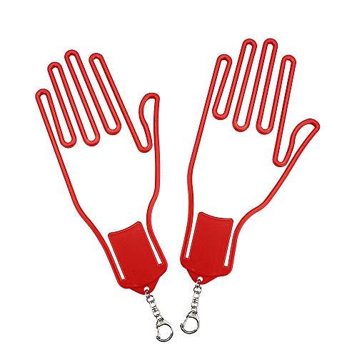 IKAAR 1 par de guantes de golf titular con llavero de plástico guante secadora colgador camilla rojo