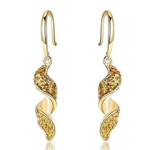 XIRENZHANG Pendientes para mujer de plata de ley 925 y oro, pendientes largos en espiral, moda con personalidad, pendientes dorados