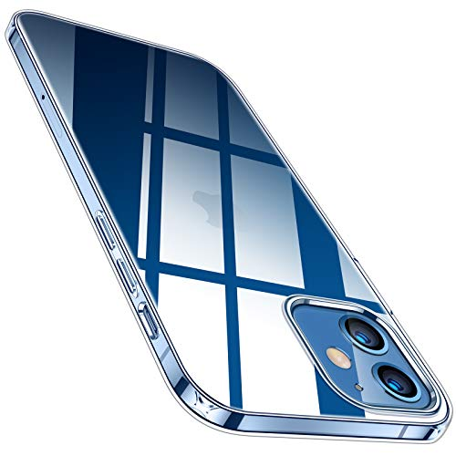 TORRAS Crystal Clear Hülle Kompatibel mit iPhone 12 Pro und für iPhone 12 Durchsichtig Dünn Flexibles Silikon Slim Griff Schutzhülle Transparent