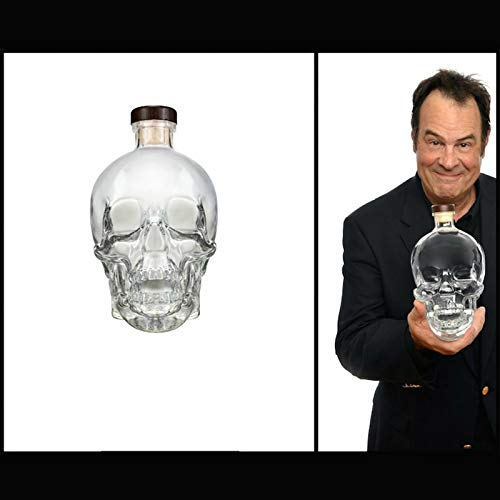 GAOXIAOMEI 400 Ml Whiskey Decanter,Wine Decanter Crystal Large Skull Face Bottle,Lead-Free Thickened Glass with Cork,Sturdy Scotch and Vodka Shot Glass