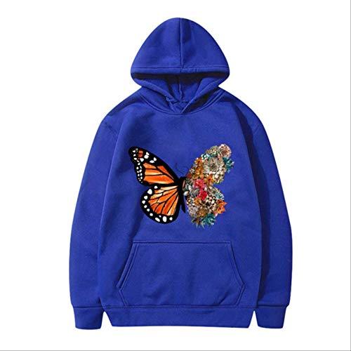 ZCMWY Fall Hoodie Sweatshirts Women'S Butterfly Fun Pattern Printed Long-Sleeve Hooded Sweatshirt Oversize Pullovers Warm Xxl Blue