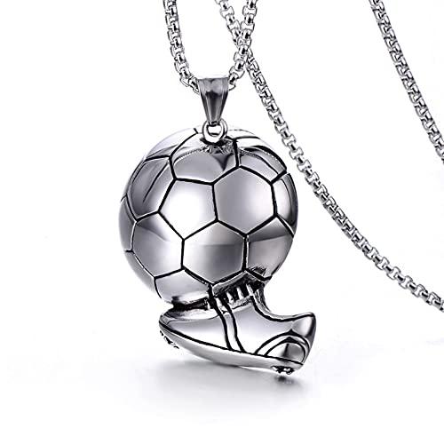 N/A Collar Collar De Fútbol De La Copa del Mundo De Acero Inoxidable Moda Simple Acero De Titanio Deportes Colgante De Joyería para Hombresno Alérgico