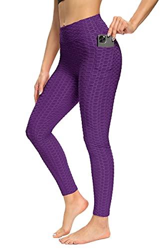 CLEMARS Push Up Leggings para Mujer con Bolsillo, Leggins Mujer Deporte con Bolsillo Alta Mujer Malla Celular Panta (Morado, XL, x_l)