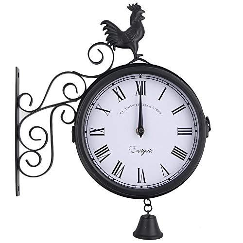 Outdoor Schmiedeeisen Gartenuhr, Kreative Mode doppelseitige Wanduhr Uhr Metall Uhr Hahn Glockenform