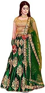 MR Fashion Women's Satin Anarkali Salwar Suit Set (Green, Standard)