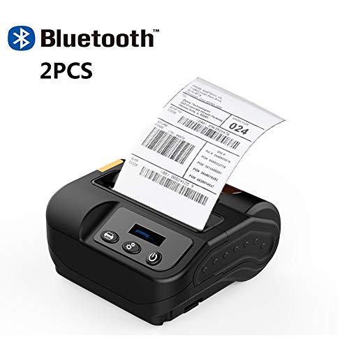 ZUKN 80MM Mini Portable Étiquette Thermique Supports D'imprimante sans Fil Bluetooth Réception Imprimante D'étiquettes ESC/POS/TSPL Commande Mobile Printer, Deux Pièces