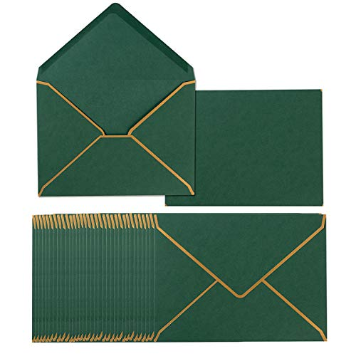 50 Pack A7 Envelopes 5 x 7 Card Envelopes Self-Adhesive V Flap Envelopes with Gold Border for Office, Wedding Gift Cards, Invitations, Graduation, Baby Shower, Parties (Green)
