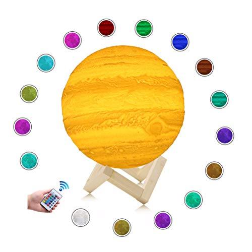 YANGSANJIN Maanlamp, 3D druk maanlamp dimbaar maannachtlicht LED Jupiter nachtlampje 3D maan kunst jupiter lamp 16 kleuren decoratieve verlichting voor de slaapkamer geveegd raak Color Change