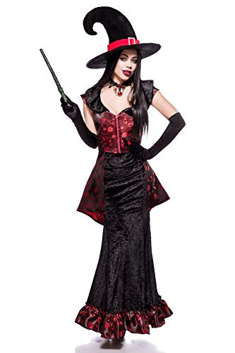 Disfraz de bruja negro/rojo, M