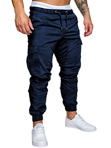 Yidarton Men's Cargo Pants Slim Fit Casual Jogger Pant Chino Trousers Sweatpants(db,l) Navy Blue