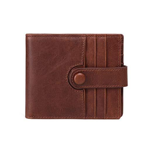 Billetera de hombre Coin Pocket Zip Men RFID Blocking Wallet Monedero corto de cuero pequeño vintage Bifold con bolsillos con cremallera doble Billetera de hombre muy suave. ( Color : Marrón )