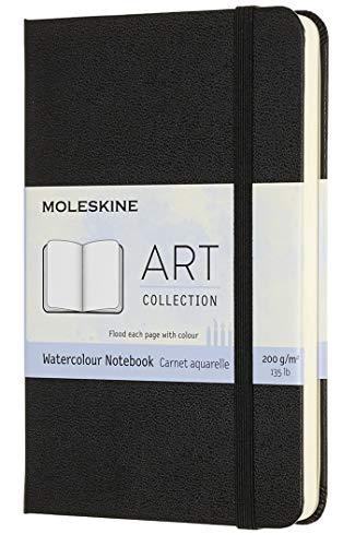 Moleskine - Cuaderno de Acuarela Adecuado para Lápices y Pinturas de Acuarela, Tapa Dura y Cierre Elástico, Color Negro, Tamaño de Bolsillo 9 x 14 cm, 60 Páginas