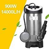 Wolketon 900W Tauchpumpe Schmutzwassertauchpumpe Schwimmerschalter Automatik- und Dauerbetrieb Flachsaugend Gartenbewässerung