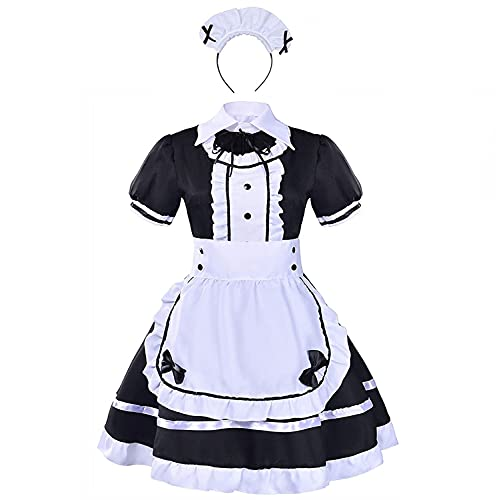 tzm2016 Anime Cosplay Costume French Maid Outfit Halloween 4 pcs as a set including dress headwear apron fake collar ( black Size XXL )