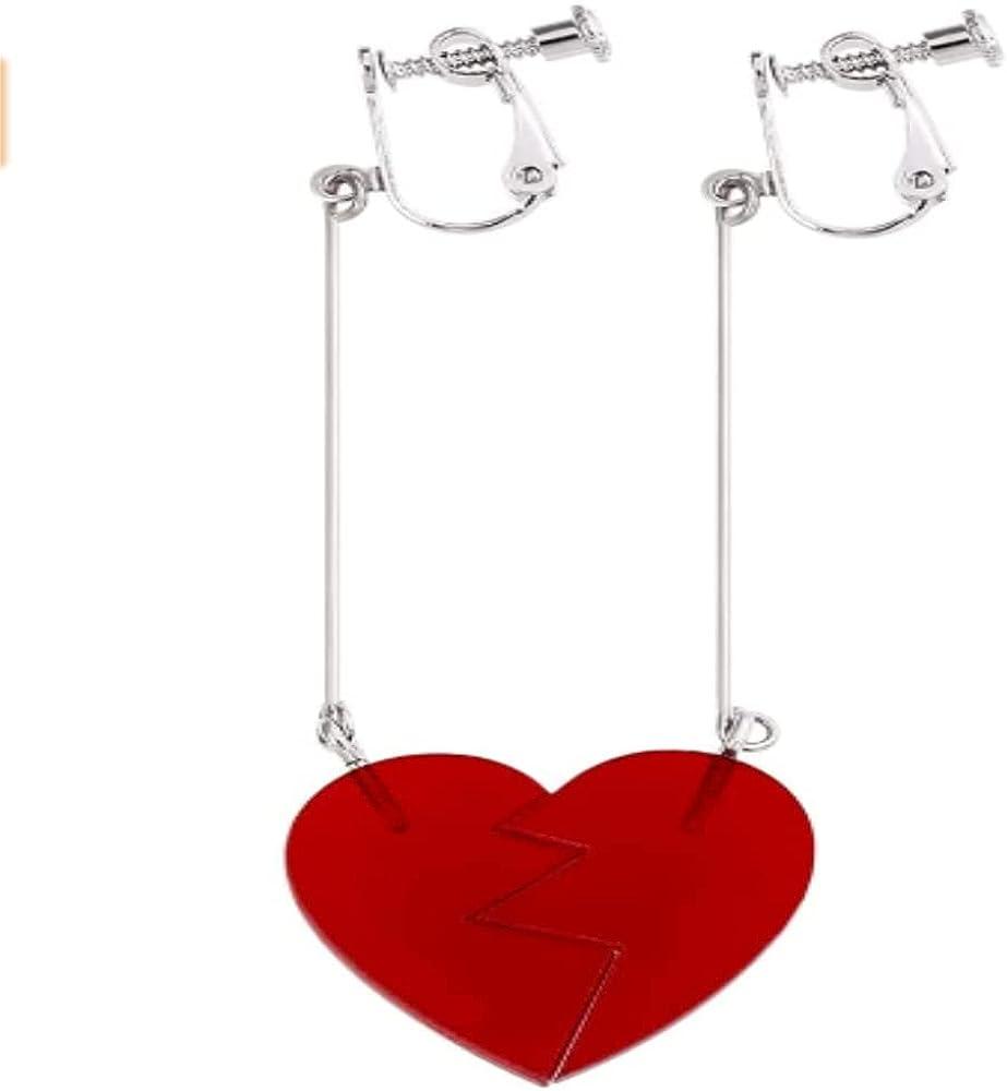 tenghong2021 JJBA Heart Drop Dangle Earring Ear Clip, Anime Rohan Kishibe Cosplay Jewelry Red Accessories for Fans Halloween Red Bizarre Adventure Earrings - Jean Pierre Polnareff Cosplay Costume Accessory