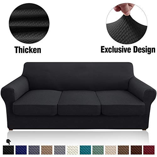 Granbest 4 Piece High Stretch Couch Covers for 3 Cushion Couch Thick Premium Sofa Slipcover Fitted Sofa Cover Furniture Protector for 3 Seat Sofas Dog Pet Proof Machine Washable (Large, Black)